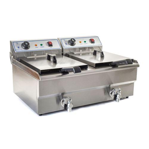 Friteuse acier inox 2 bacs 16 litres cuve et resistance amovible robinet vidange 380 V professionnelle