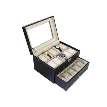 acheter en ligne ab751 41b19 Boite pour Montres et Bracelets, Coffret à Montres, 20 montres avec vitre  et tiroir, Noir/Beige, Dimensions: 28,5 x 20,5 x 15 cm