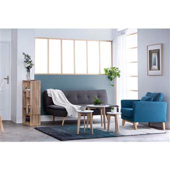Canape Convertible Design Scandinave 3 Places Gris Fonce Senso