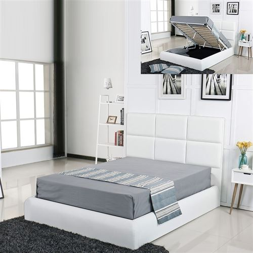 Lit coffre design Alves - Blanc - 140x190