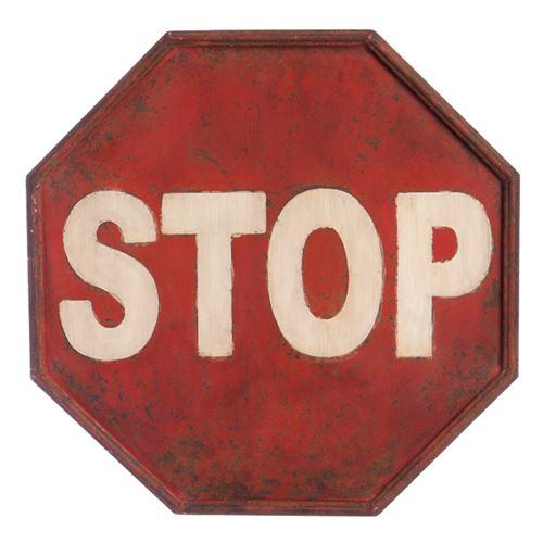 Plaque métallique vieillie à suspendre STOP 40 cm