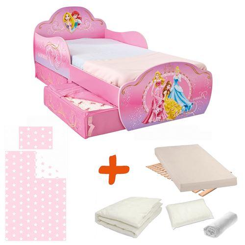 Pack complet Premium Lit design avec tiroirs Princesse = Lit+Matelas & Parure+Couette+Oreiller