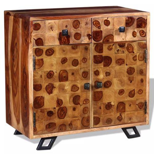 Meelady Buffet en Bois de Sheesham Massif Buffet pour Salon Chambre avec Tiroir 65 x 35 x 65 cm