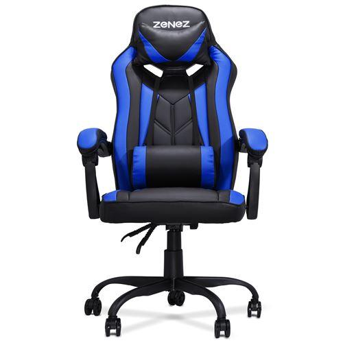 Chaise de Bureau Gaming ZENEZ avec Repose-tête, L54*P60*H124 cm, Bleu Noir