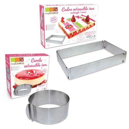 2 cadres pâtisserie extensibles - cercle & rectangle - ScrapCooking