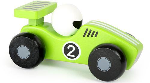 Small Foot voiture de course en bois vert/blanc 13 x 6 cm