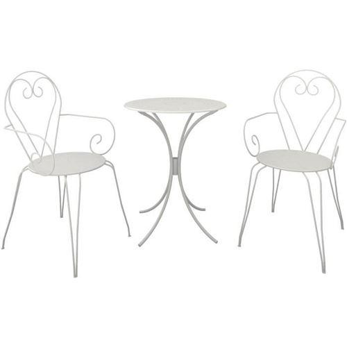 Set Table De Jardin Romantique En Fer Forge 60 Cm + 2 Fauteuils - Blanc