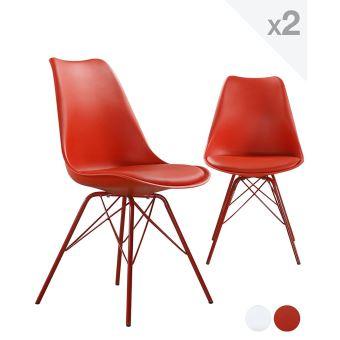 20EUR10 Sur Chaise Design Metal STEP Avec Coussin Rouge