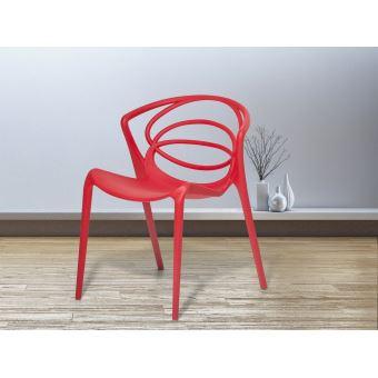 Beliani - Chaise de jardin design - siège en plastique rouge - Bend ...