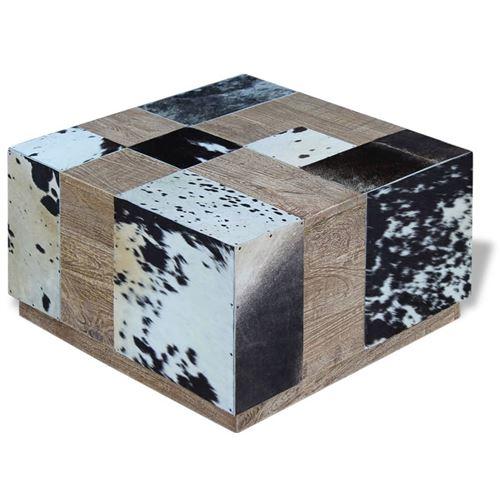 vidaXL Table basse Cuir de vache 60 x 60 x 36 cm