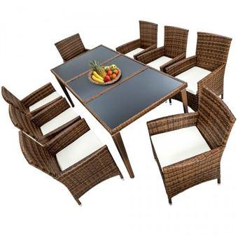 Salon de jardin 8 chaises rotin résine tressé synthétique marron + ...