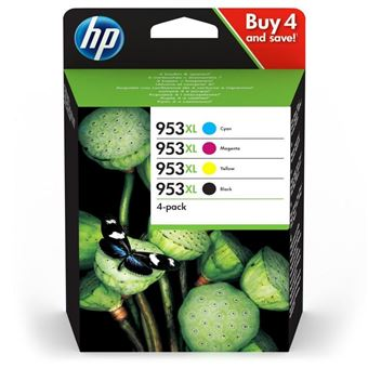 Pack de 4 cartouches d'encre HP 953XL Noir, Cyan, Magenta, Jaune