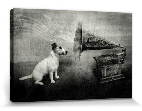 Chiens Poster Reproduction Sur Toile, Tendue Sur Châssis - His Master's Voice, Jack Russell Terrier (20x30 cm)