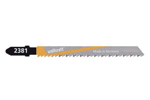 Wolfcraft 2381000 2 Lames de Scie Sauteuse Hcs, Queue en T, Longueur Dentée 75 Mm, Pas de Dents 2,5 Mm, Dents Avoyées Et Rectifiées, Dos Conique