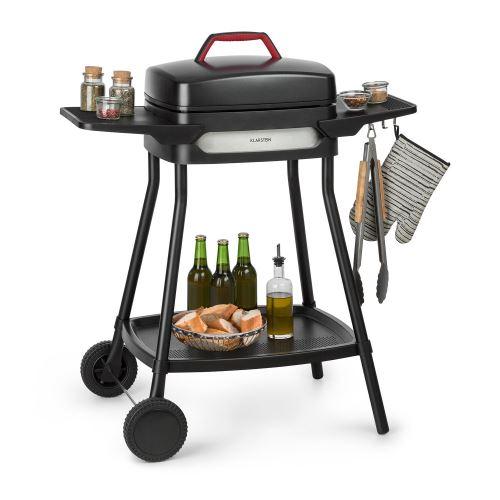 Klarstein Gatsby Grill électrique 2000W - Table d'appoint - 4 pieds acier inox -Nettoyage facile - Noir