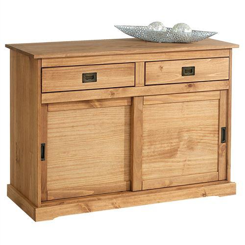 Buffet SAVONA bahut vaisselier commode avec 2 tiroirs et 2 portes coulissantes, en pin massif lasuré brun