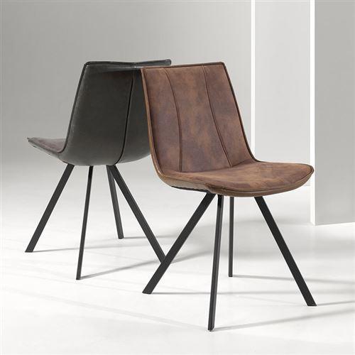 Chaise design marron CHILDERIC (lot de 2) - Marron