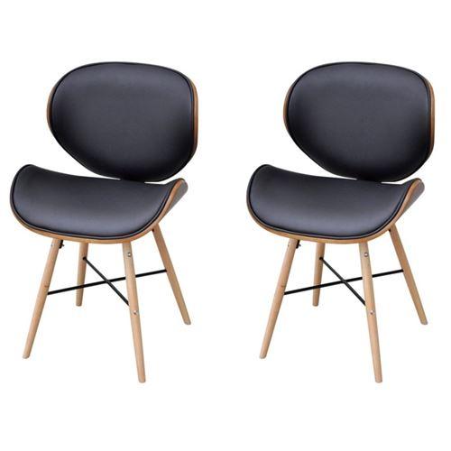 2 chaises de salon salle à manger entrée sans accoudoirs avec cadre en bois cintré top designe moderne