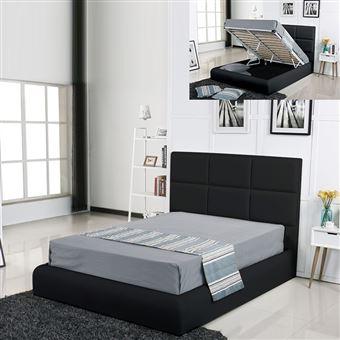 120 Sur Lit Coffre Design Alves Noir 180x200 Achat Prix