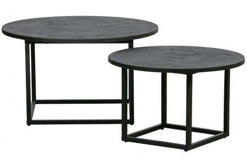 Lot de 2 tables d'appoint en métal coloris noir -PEGANE-