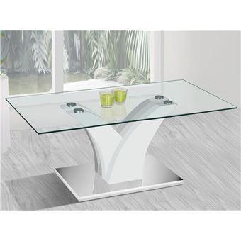 Table Basse Rectangulaire Design En Verre Verga Blanc Laque