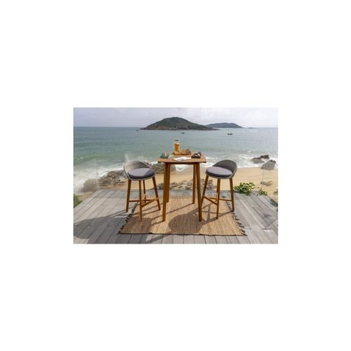 Ensemble Repas De Jardin Type Bar - Table 80x80cm - En Bois Et Resine Tressee - 2 Places