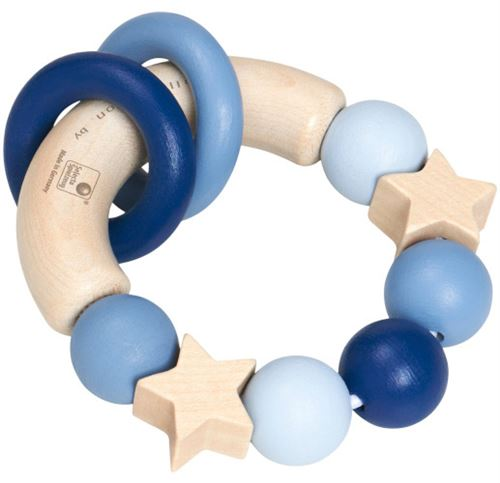 Selecta Spielzeug anneau d'attrapage Lucky grab boys 10 cm bois naturel/bleu