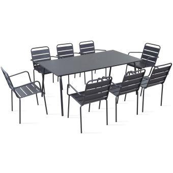 Table de jardin et 8 fauteuils en métal, Palavas - Gris ...