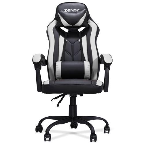 Chaise de Bureau Gaming ZENEZ avec Repose-tête, L54*P60*H124 cm, Noir et gris