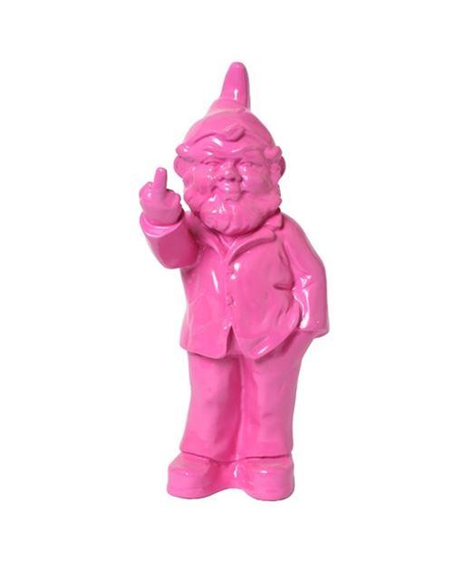 Statue en résine NAIN de jardin doigt d'honneur fushia - 33 cm
