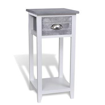 Vidaxl Table De Chevet Meuble Pour Telephone Avec 1 Tiroir Gris
