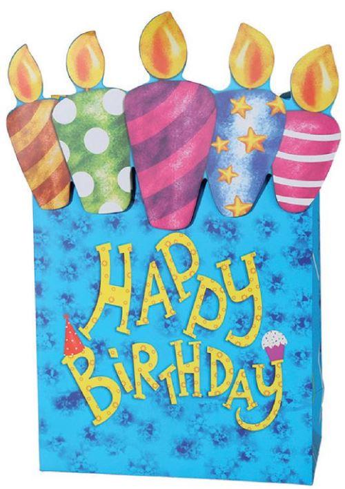 Sac cadeau anniversaire bleu en papier 26 x 10 x 32 cm