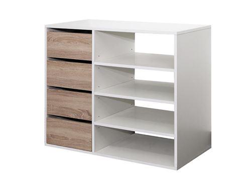 Meuble de rangement EMERIC - 4 tiroirs & 4 niches - Coloris Blanc et chêne
