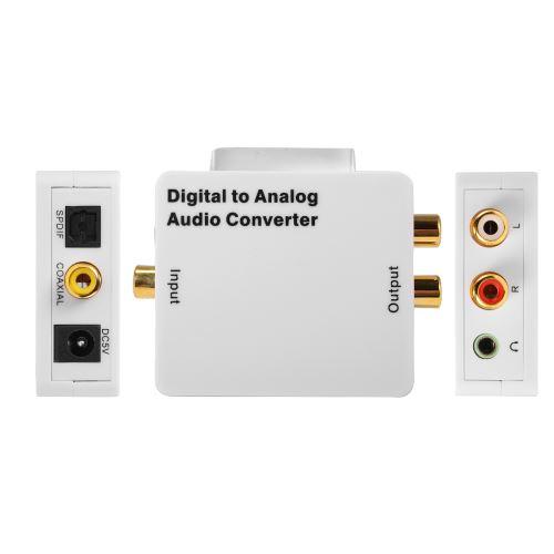 Convertisseur Audio RCA L/R DAC Numérique Vers Analogique Adaptateur Toslink SPDIF Coaxial Optique X