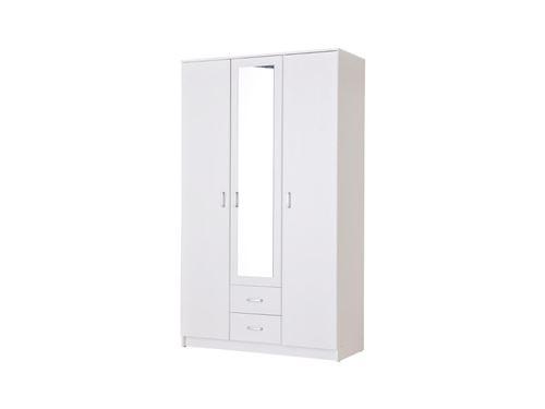 Armoire OLESSIA - 3 portes & 2 tiroirs - Avec miroir - L.120 cm - Blanc