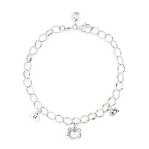 Bonjour Kitty Argent Sterling Triple Charm Bracelet