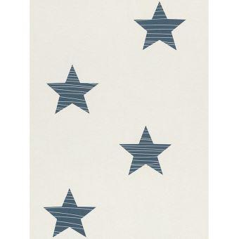 Etoile Papier Peint Bleu Fonce Et Blanc Rasch Decors Et Stickers