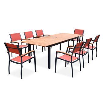 Salon de jardin en bois et aluminium Sevilla, grande table 200-250cm  rectangle avec allonge papillon