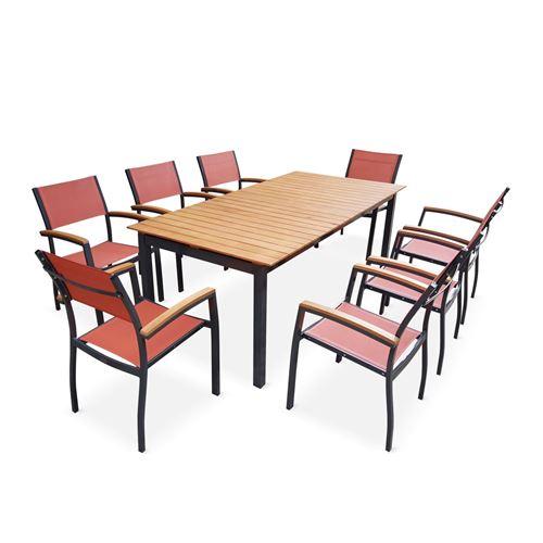 100€ sur Salon de jardin en bois et aluminium Sevilla, grande table ...
