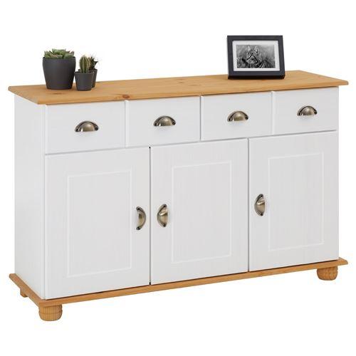Buffet COLMAR commode bahut vaisselier meuble bas rangement avec 2 tiroirs et 3 portes, en pin massif lasuré blanc et brun