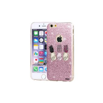 Coque Iphone 6 Iphone 6s Paillettes Rose Trio Ananas Evetane