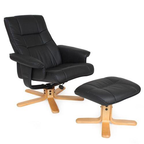 Fauteuil de relaxation détente tv avec tabouret noir pied beige