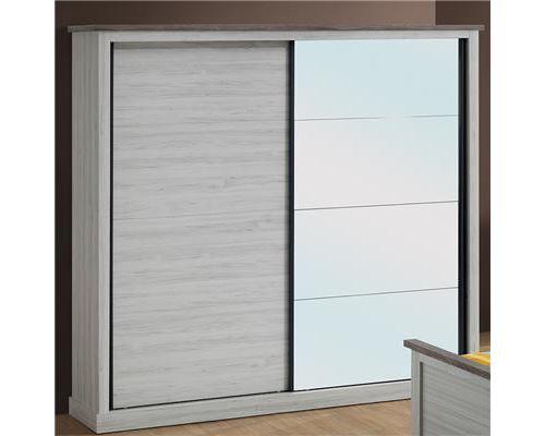 Armoire 2 portes coulissantes couleur chêne clair et marron ELAURA - L 220 x P 62 x H 215 cm