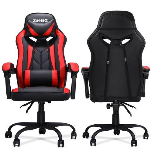 Chaise de Bureau Gaming ZENEZ avec Repose-tête, L54*P60*H124 cm, Noir Rouge