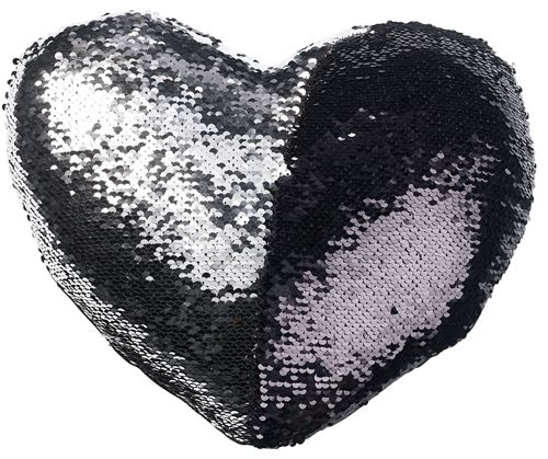 Coussin cœur paillettes et velours, coloris noir & argent