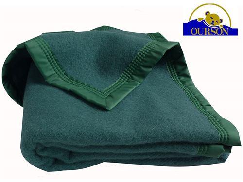 Couverture pure laine woolmark ourson 350 gr vert 240x260
