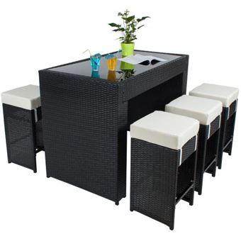 Table haute salon de jardin rotin résine tressé synthétique + 6 tabourets  rotin noir