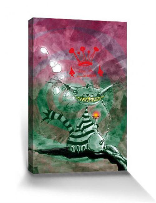Art Urbain Poster Reproduction Sur Toile, Tendue Sur Châssis - Chat De Chester Au Pays Des Merveilles, Marcus Merget (100x60 cm)