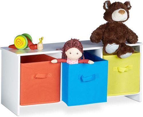 Relaxdays Banc de Rangement Enfant Albus Caisse à Jouets colorée Banc en Bois boîte à Jouets Pliable HxlxP: 35,5 x 81 x 29 cm, Blanc