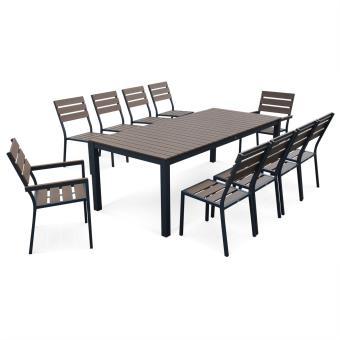 Salon de jardin monaco en bois composite et aluminium table 220cm 8 chaises et 2 fauteuils - Salon jardin composite aluminium ...